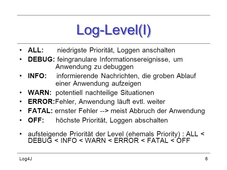 Log-Level(I) ALL: niedrigste Priorität, Loggen anschalten