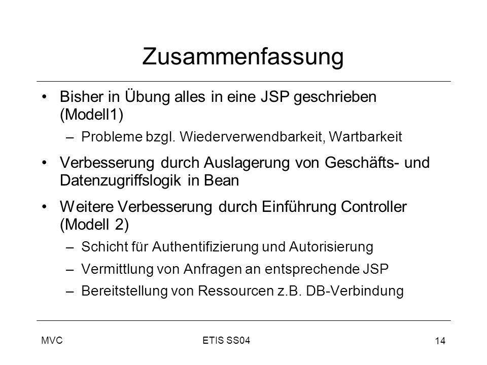 ZusammenfassungBisher in Übung alles in eine JSP geschrieben (Modell1) Probleme bzgl. Wiederverwendbarkeit, Wartbarkeit.