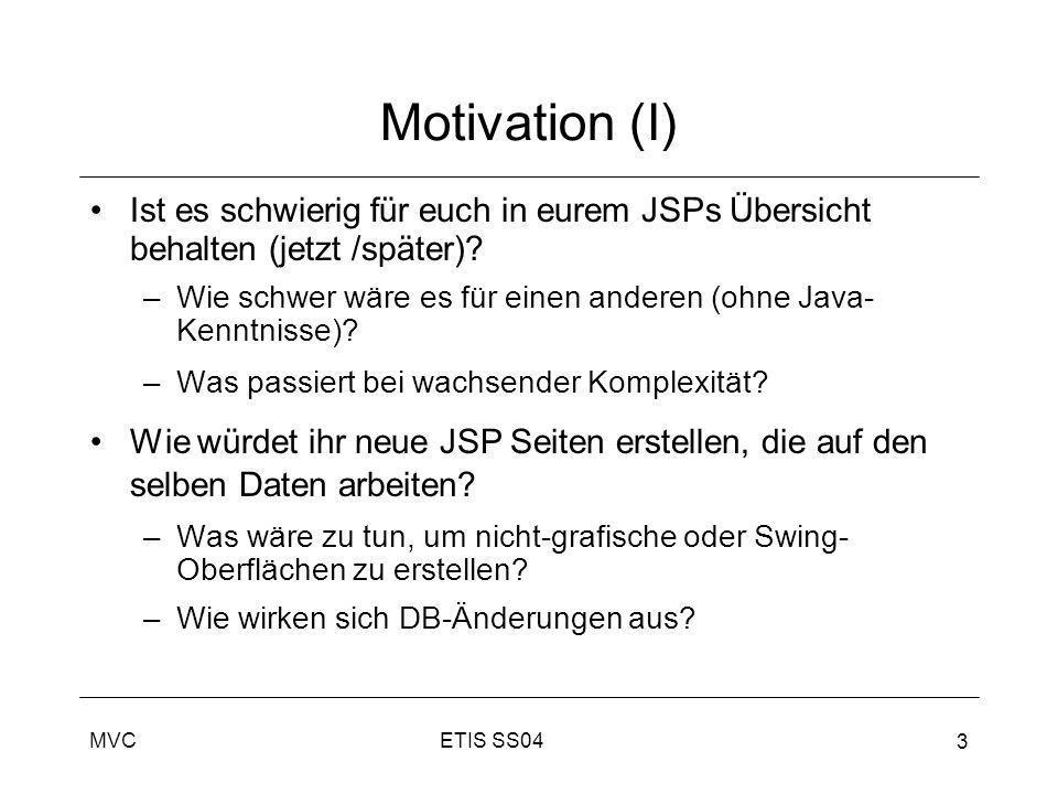 Motivation (I) Ist es schwierig für euch in eurem JSPs Übersicht behalten (jetzt /später)