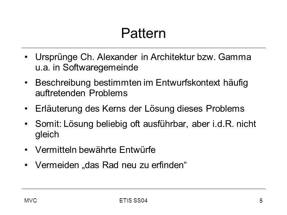 PatternUrsprünge Ch. Alexander in Architektur bzw. Gamma u.a. in Softwaregemeinde.
