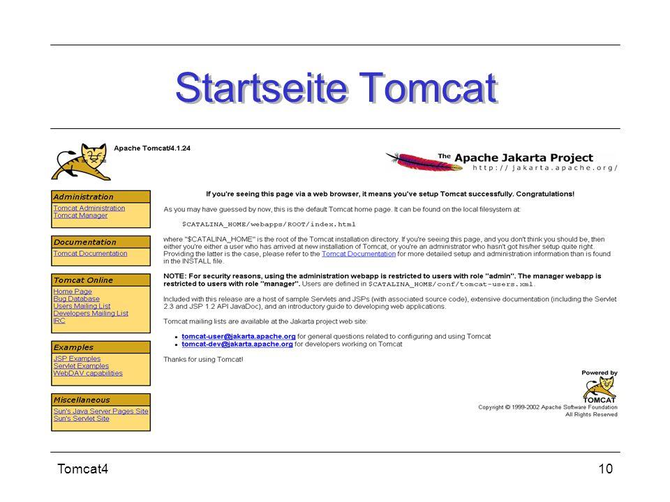 Startseite Tomcat Tomcat4
