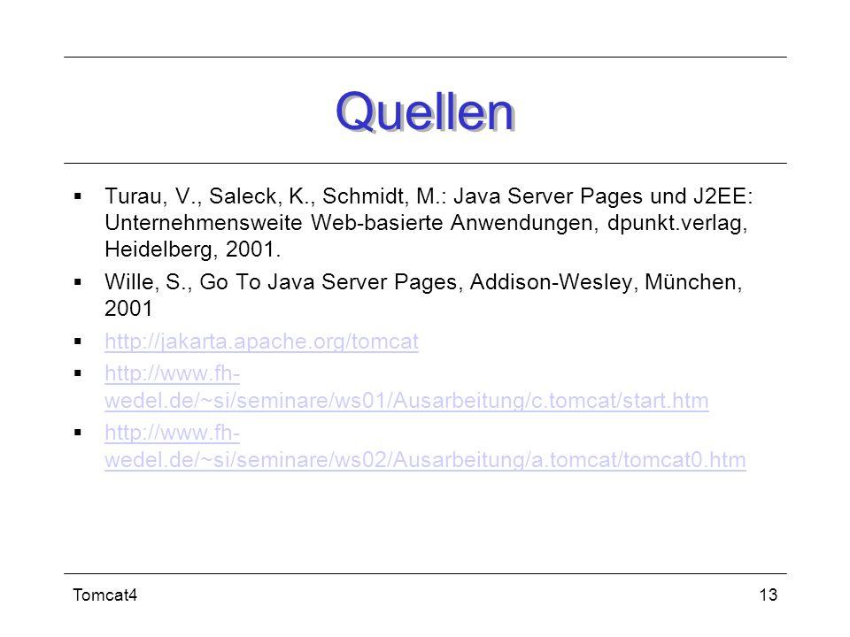Quellen Turau, V., Saleck, K., Schmidt, M.: Java Server Pages und J2EE: Unternehmensweite Web-basierte Anwendungen, dpunkt.verlag, Heidelberg, 2001.