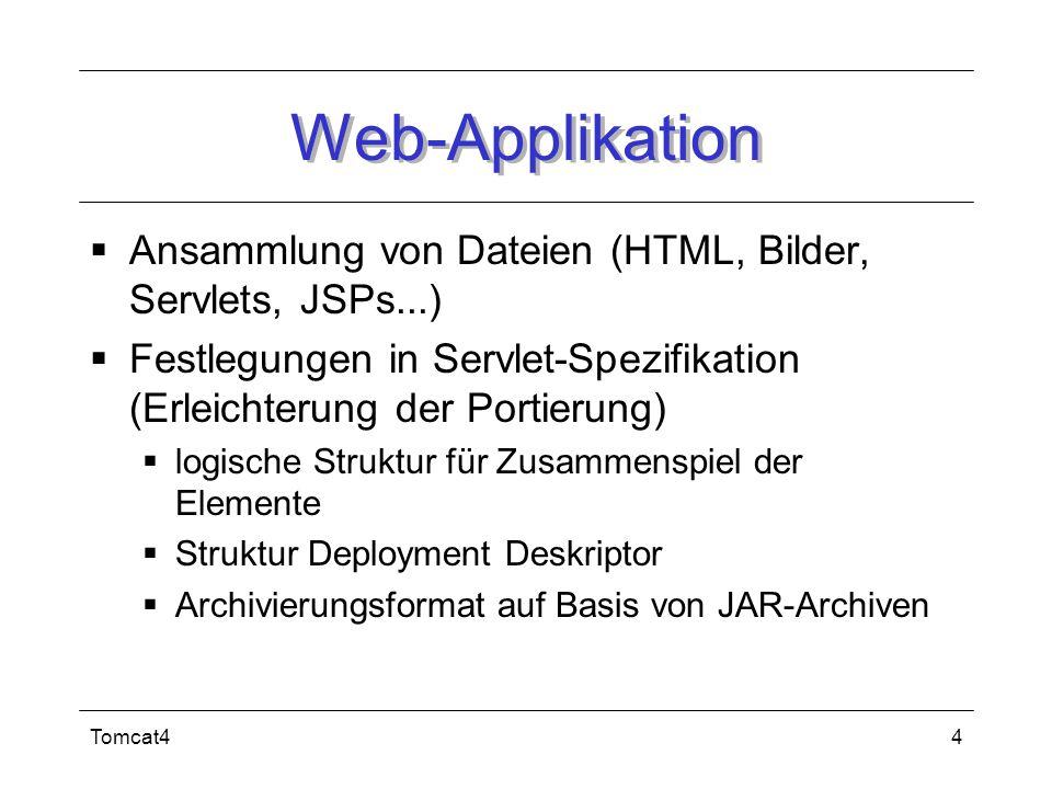 Web-Applikation Ansammlung von Dateien (HTML, Bilder, Servlets, JSPs...) Festlegungen in Servlet-Spezifikation (Erleichterung der Portierung)