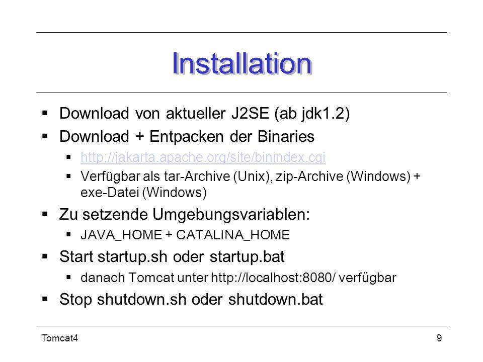 Installation Download von aktueller J2SE (ab jdk1.2)