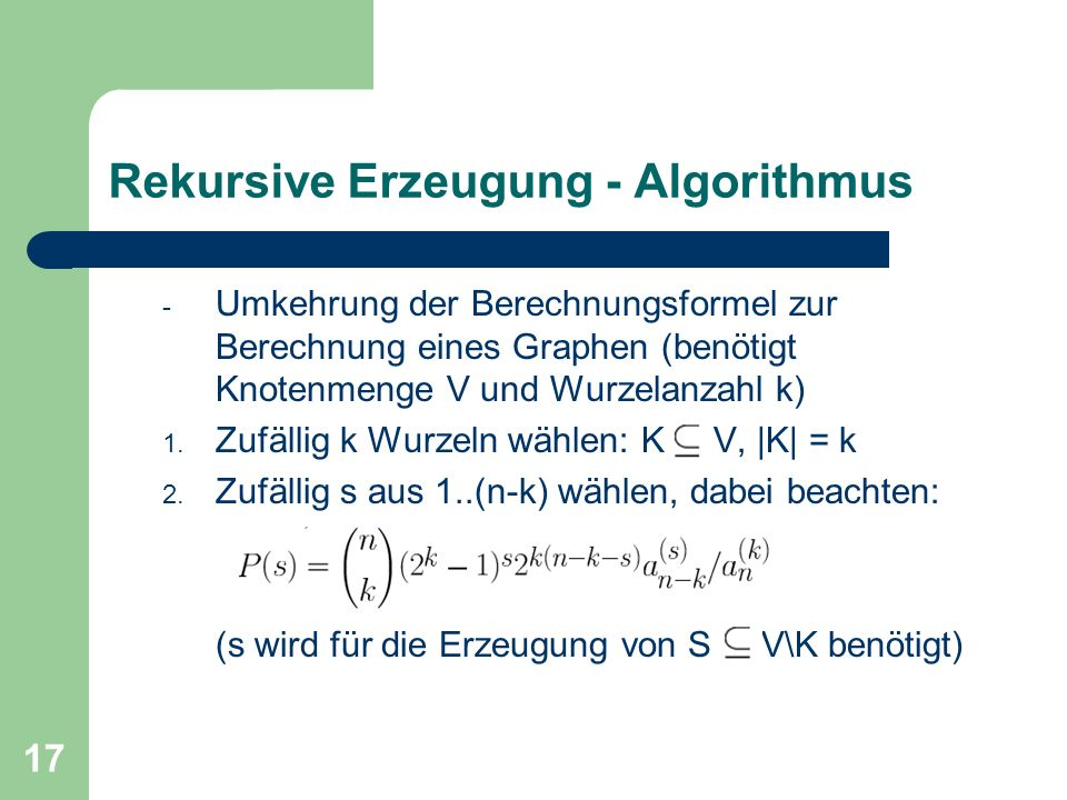 Rekursive Erzeugung - Algorithmus