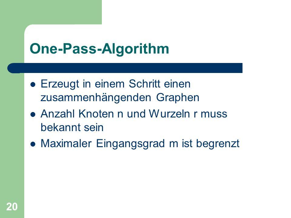 One-Pass-Algorithm Erzeugt in einem Schritt einen zusammenhängenden Graphen. Anzahl Knoten n und Wurzeln r muss bekannt sein.