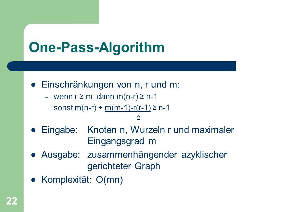 One-Pass-Algorithm Einschränkungen von n, r und m: