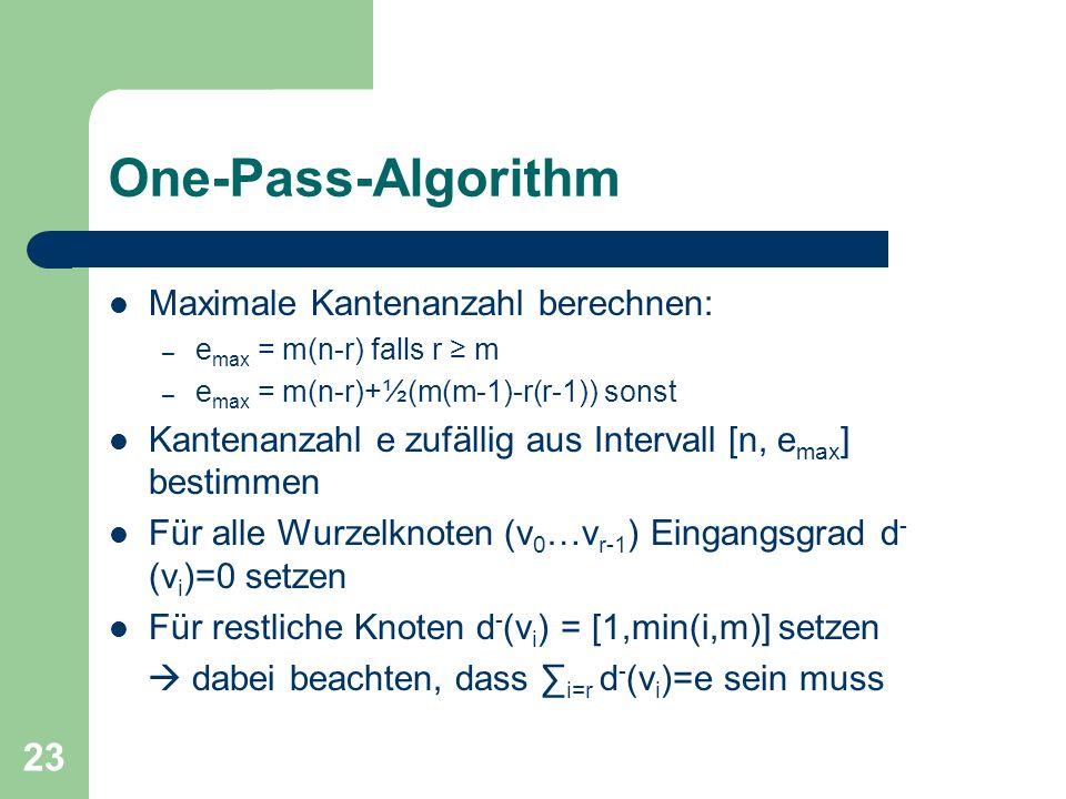 One-Pass-Algorithm Maximale Kantenanzahl berechnen: