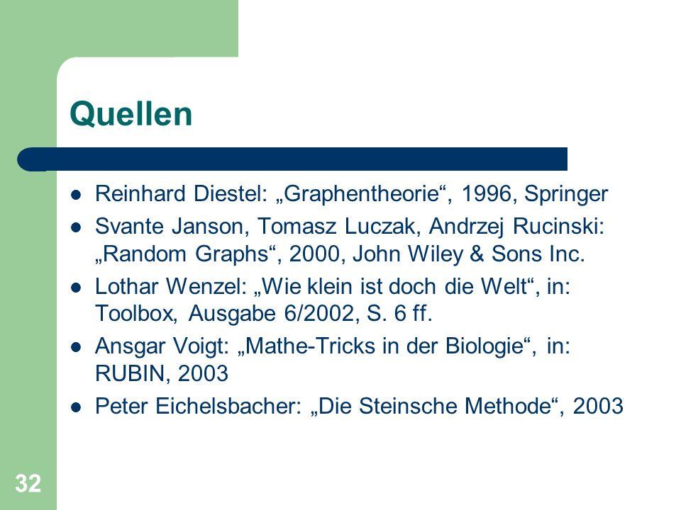 """Quellen Reinhard Diestel: """"Graphentheorie , 1996, Springer"""