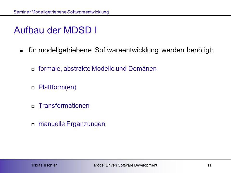 Aufbau der MDSD I für modellgetriebene Softwareentwicklung werden benötigt: formale, abstrakte Modelle und Domänen.