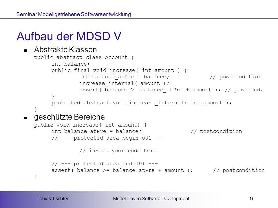Aufbau der MDSD V Abstrakte Klassen geschützte Bereiche