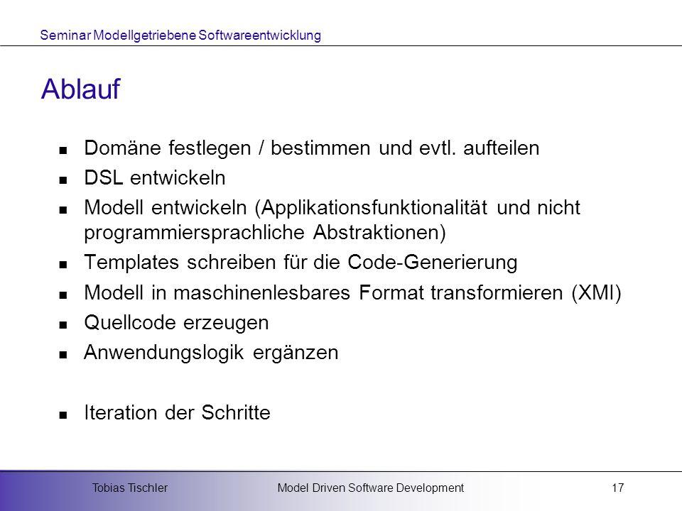 Ablauf Domäne festlegen / bestimmen und evtl. aufteilen DSL entwickeln