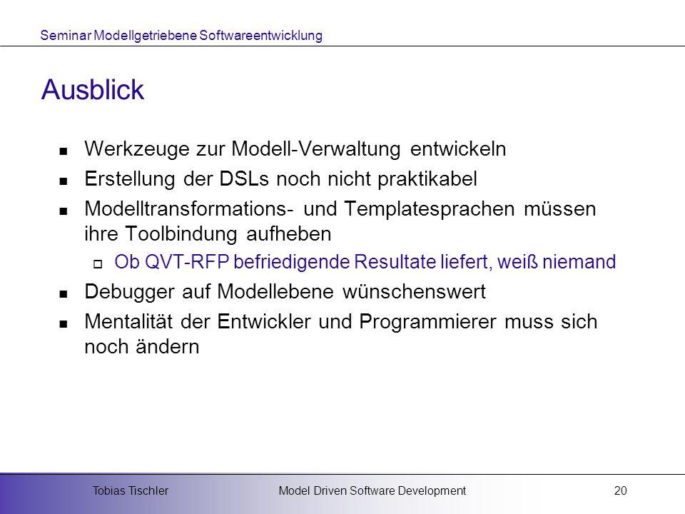 Ausblick Werkzeuge zur Modell-Verwaltung entwickeln