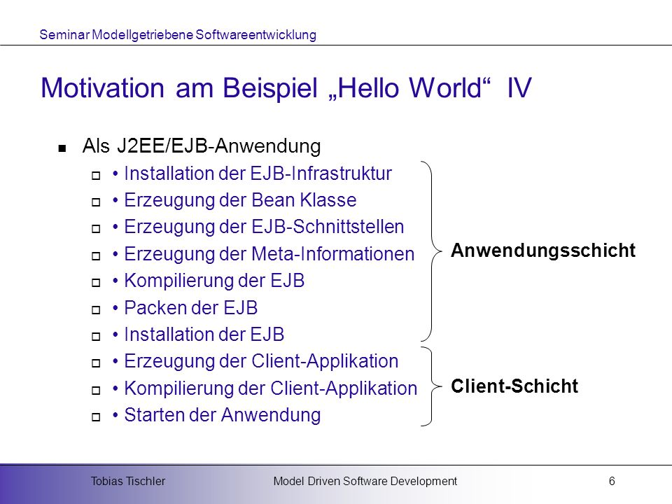 "Motivation am Beispiel ""Hello World IV"