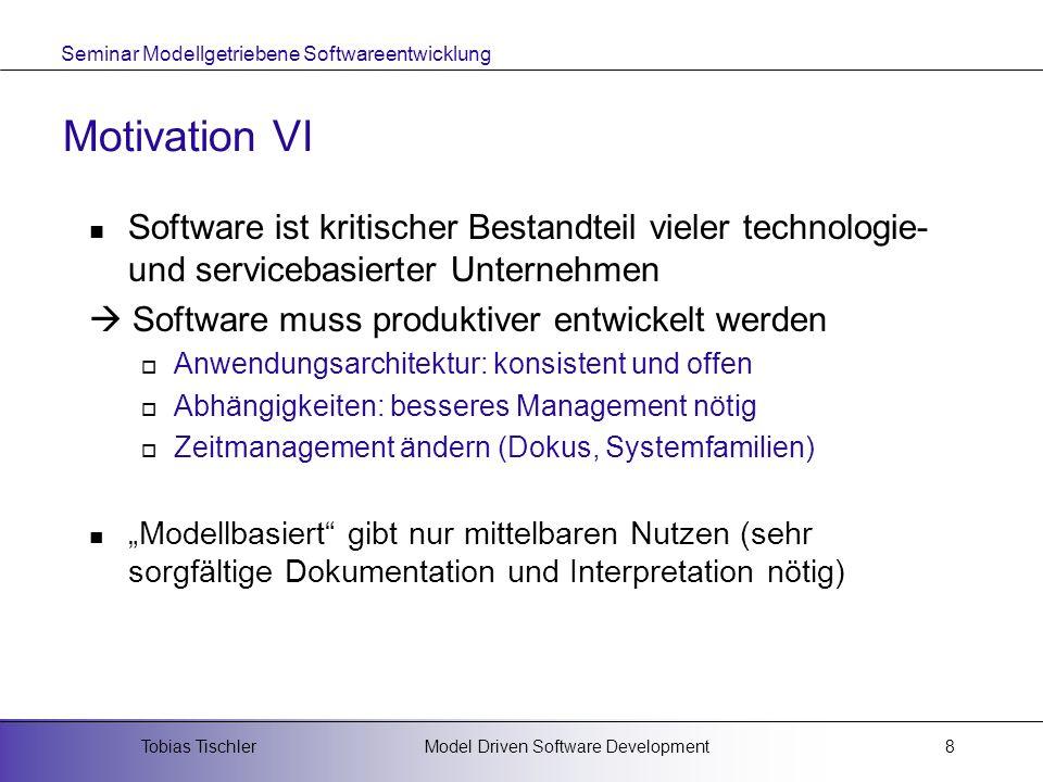 Motivation VI Software ist kritischer Bestandteil vieler technologie- und servicebasierter Unternehmen.