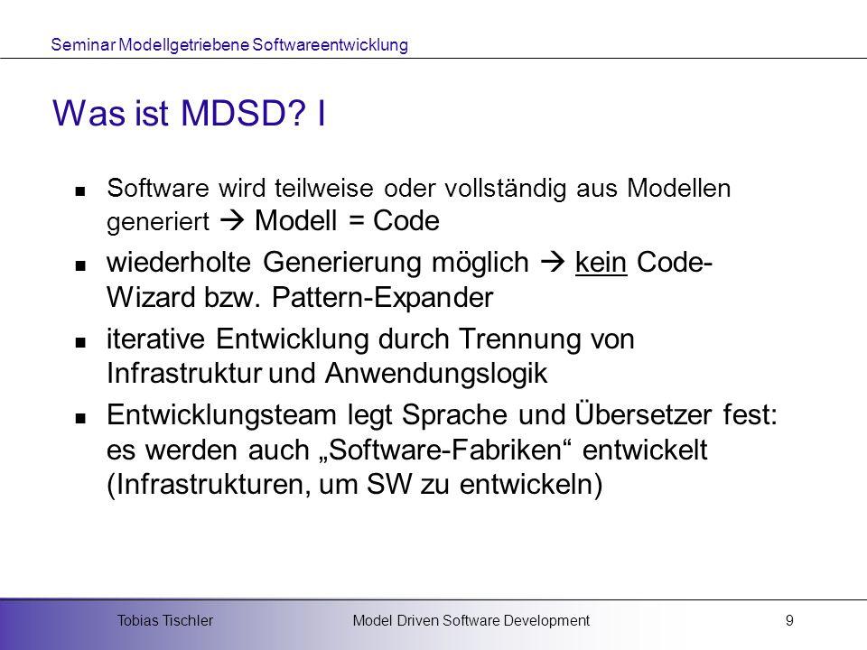 Was ist MDSD I Software wird teilweise oder vollständig aus Modellen generiert  Modell = Code.