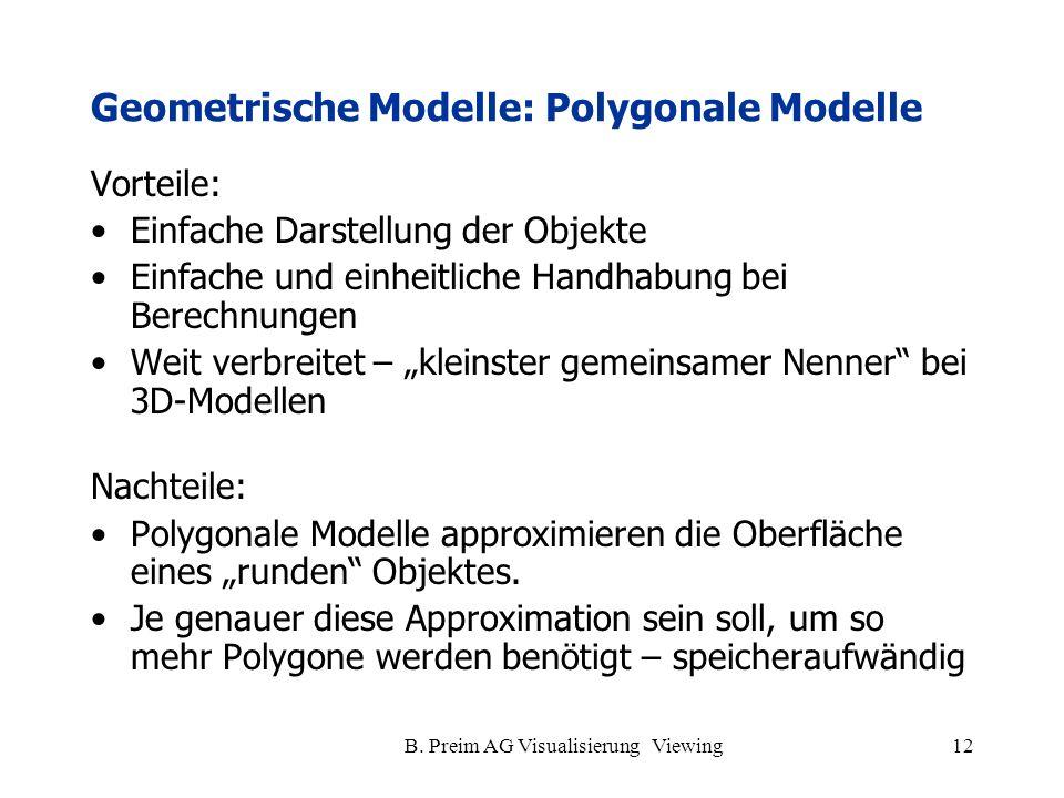 Geometrische Modelle: Polygonale Modelle