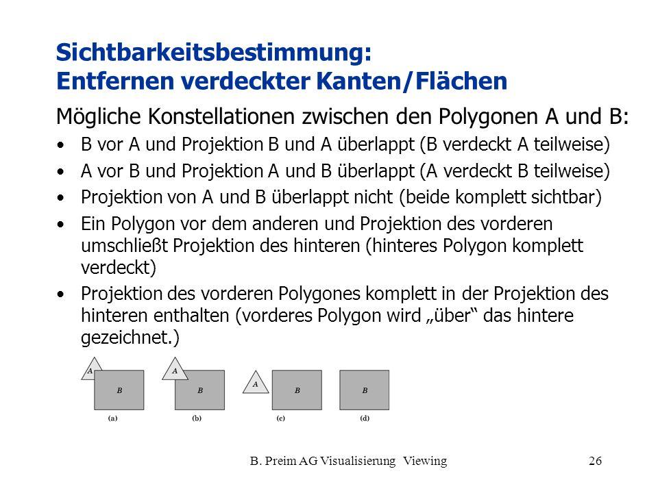 Sichtbarkeitsbestimmung: Entfernen verdeckter Kanten/Flächen