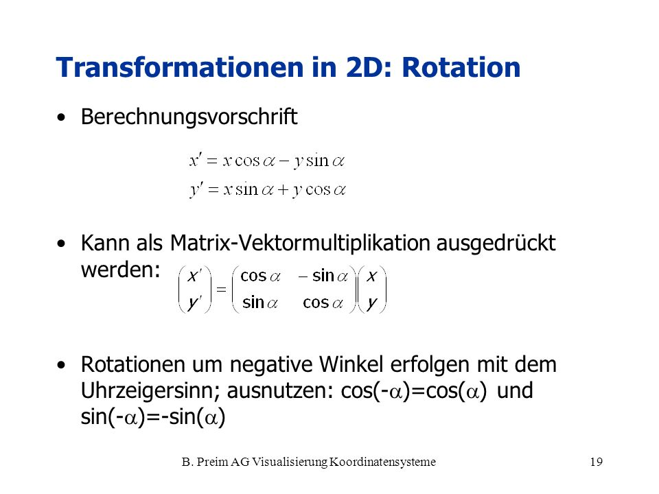 Transformationen in 2D: Rotation