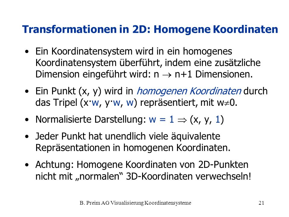 Transformationen in 2D: Homogene Koordinaten