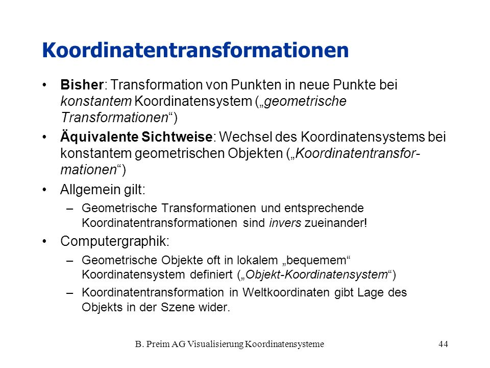 Koordinatentransformationen