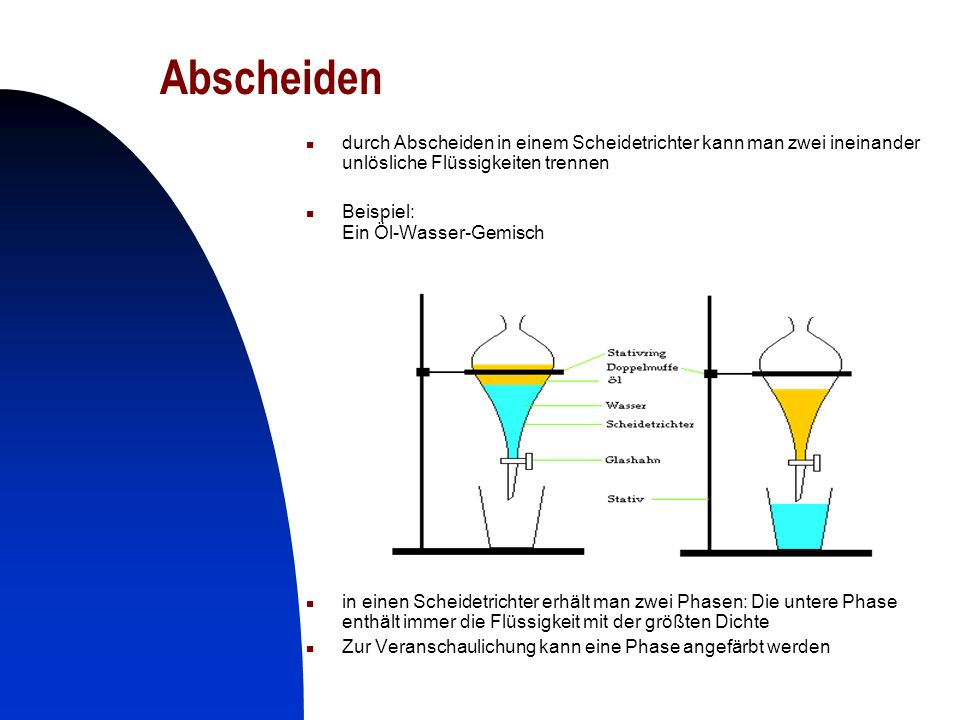 Abscheiden durch Abscheiden in einem Scheidetrichter kann man zwei ineinander unlösliche Flüssigkeiten trennen.