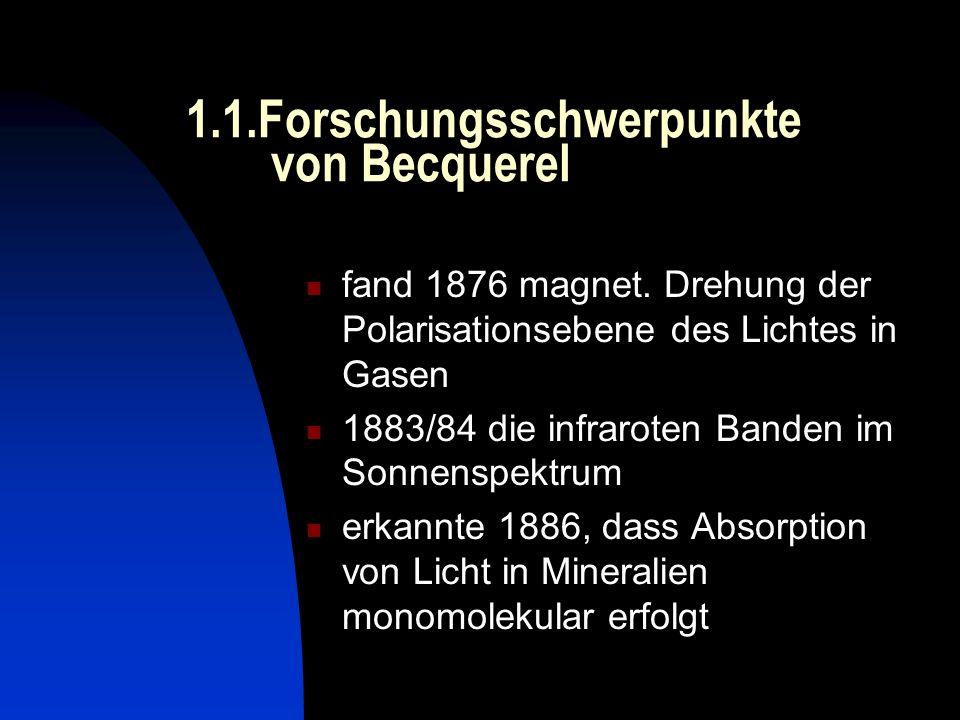 1.1.Forschungsschwerpunkte von Becquerel