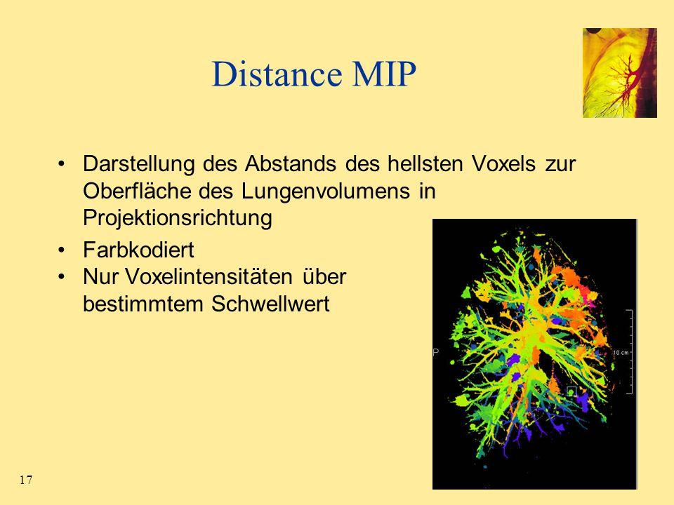 Distance MIP Darstellung des Abstands des hellsten Voxels zur Oberfläche des Lungenvolumens in Projektionsrichtung.