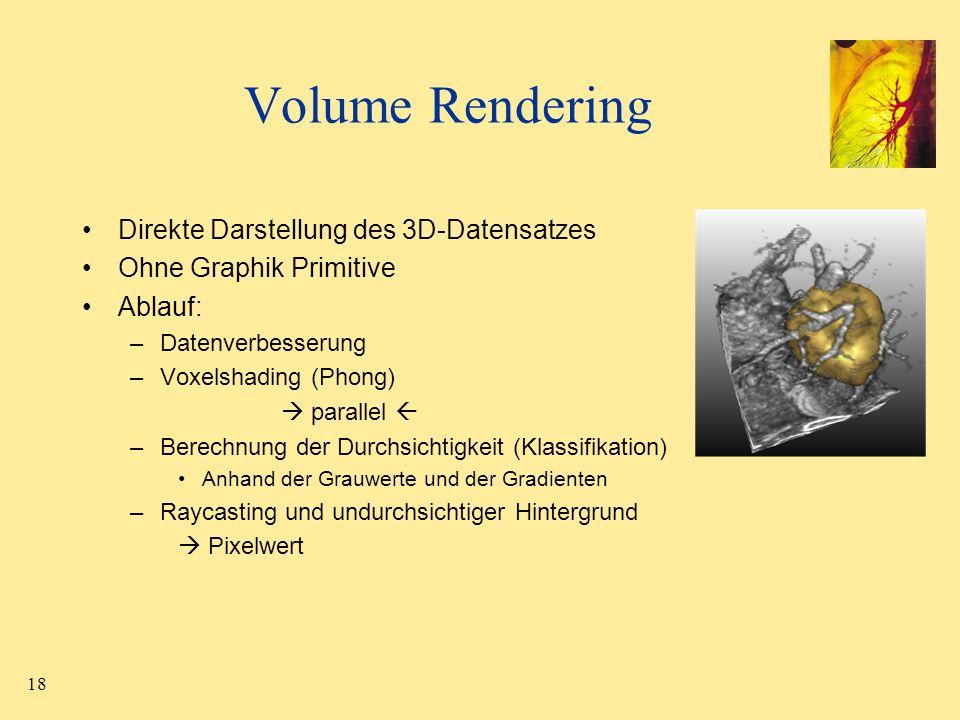 Volume Rendering Direkte Darstellung des 3D-Datensatzes