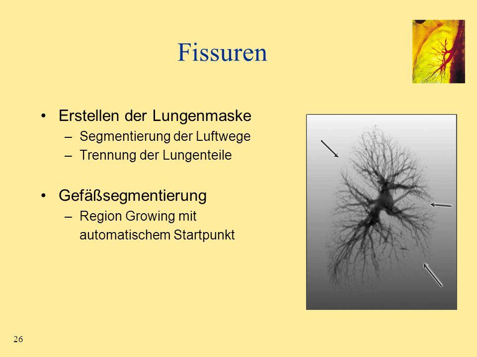 Fissuren Erstellen der Lungenmaske Gefäßsegmentierung