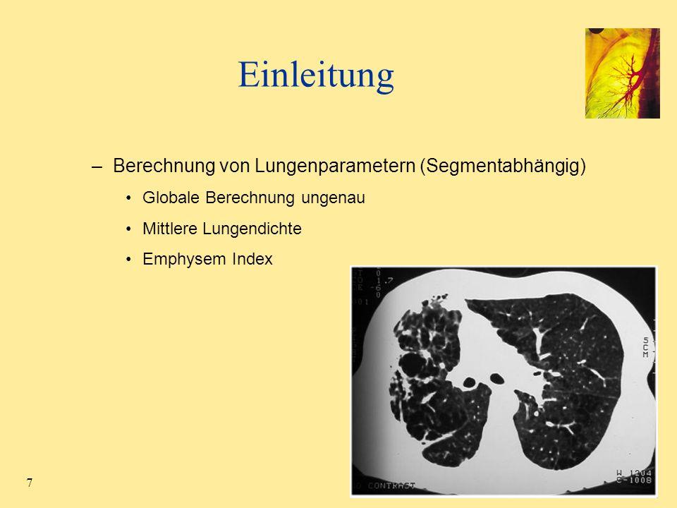 Einleitung Berechnung von Lungenparametern (Segmentabhängig)