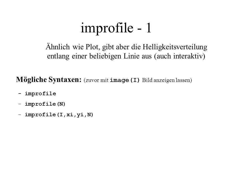 improfile - 1 Ähnlich wie Plot, gibt aber die Helligkeitsverteilung entlang einer beliebigen Linie aus (auch interaktiv)