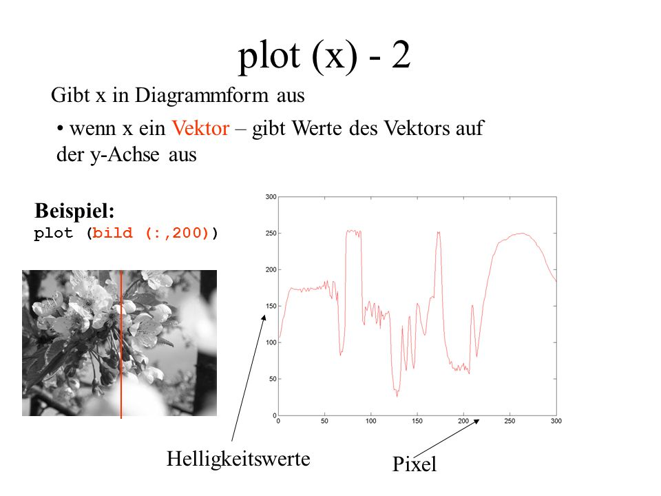 plot (x) - 2 Gibt x in Diagrammform aus