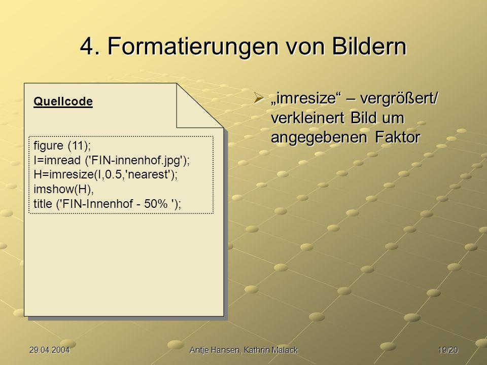 4. Formatierungen von Bildern