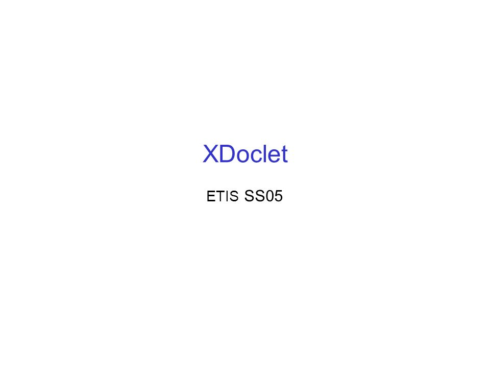 XDoclet ETIS SS05