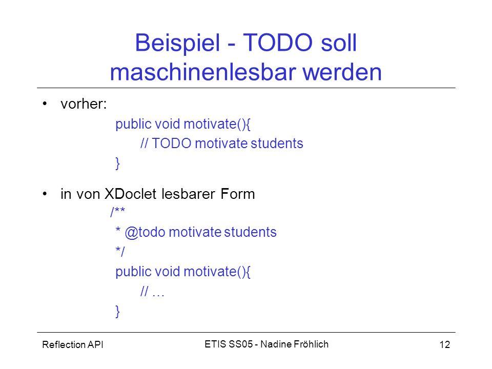 Beispiel - TODO soll maschinenlesbar werden