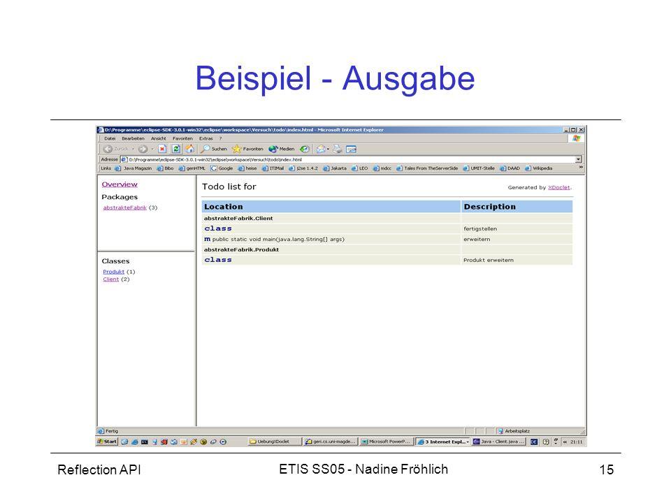 Beispiel - Ausgabe Reflection API ETIS SS05 - Nadine Fröhlich