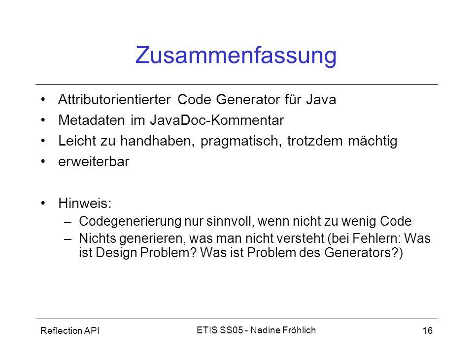 Zusammenfassung Attributorientierter Code Generator für Java