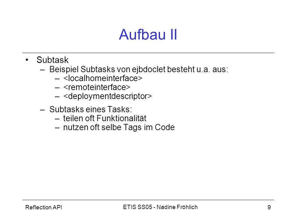 Aufbau II Subtask Beispiel Subtasks von ejbdoclet besteht u.a. aus: