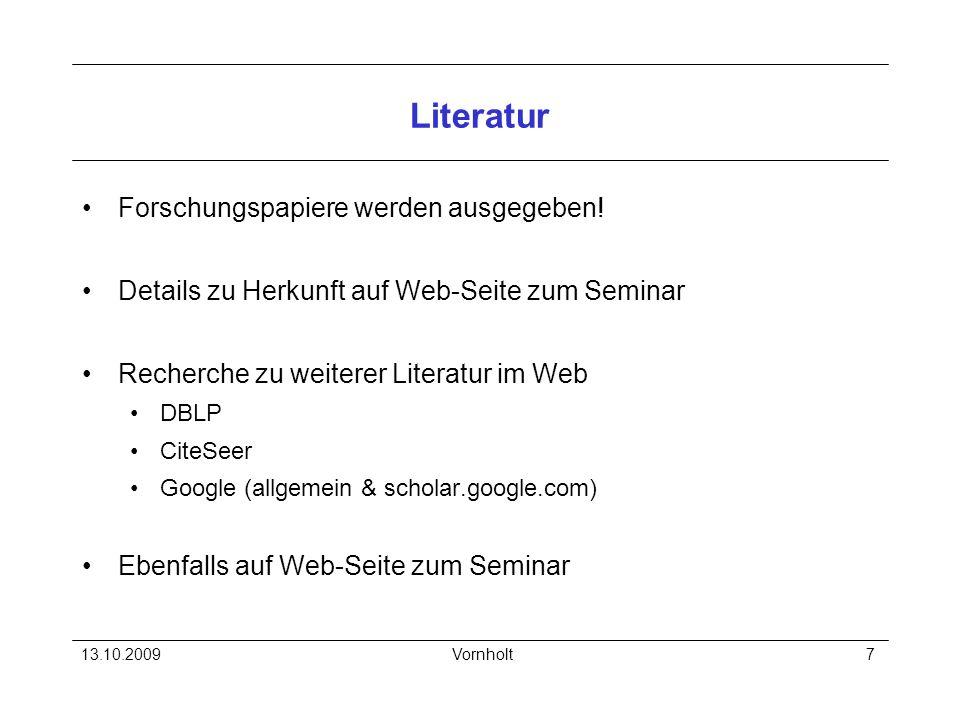Literatur Forschungspapiere werden ausgegeben!