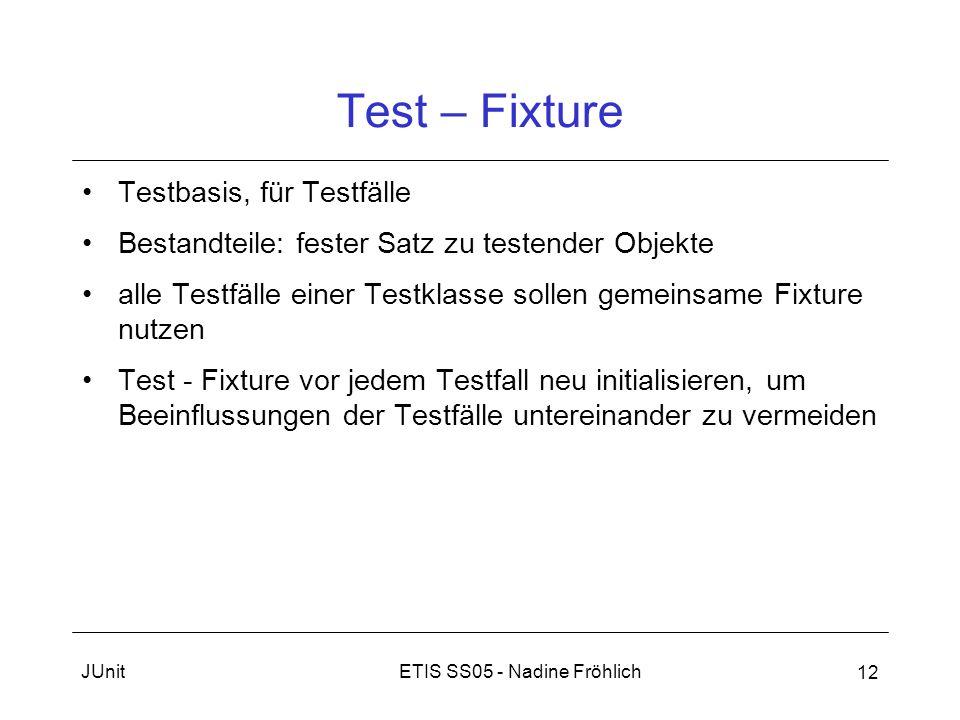 Test – Fixture Testbasis, für Testfälle