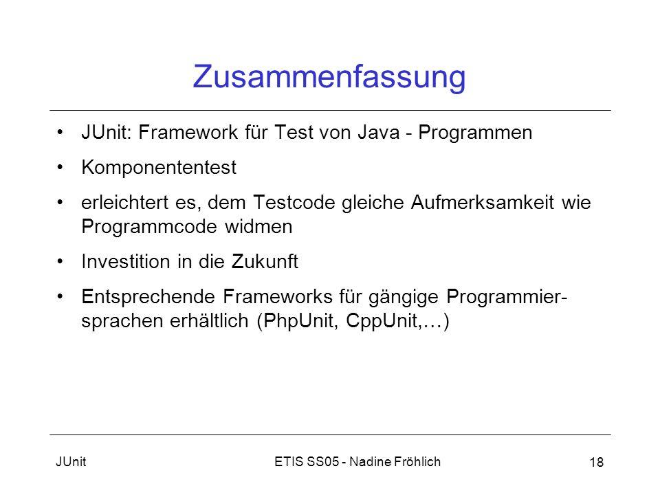 Zusammenfassung JUnit: Framework für Test von Java - Programmen