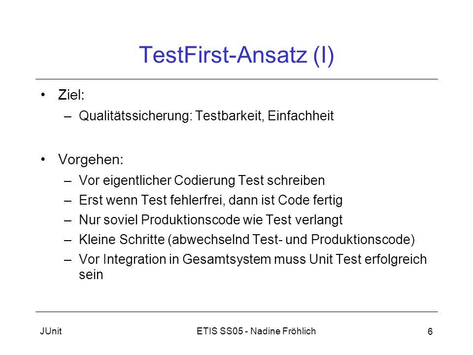 TestFirst-Ansatz (I) Ziel: Vorgehen: