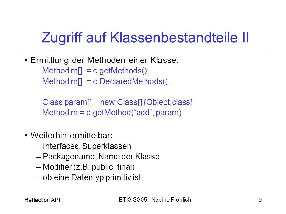 Zugriff auf Klassenbestandteile II