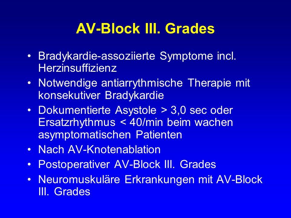 AV-Block III. Grades Bradykardie-assoziierte Symptome incl. Herzinsuffizienz. Notwendige antiarrythmische Therapie mit konsekutiver Bradykardie.