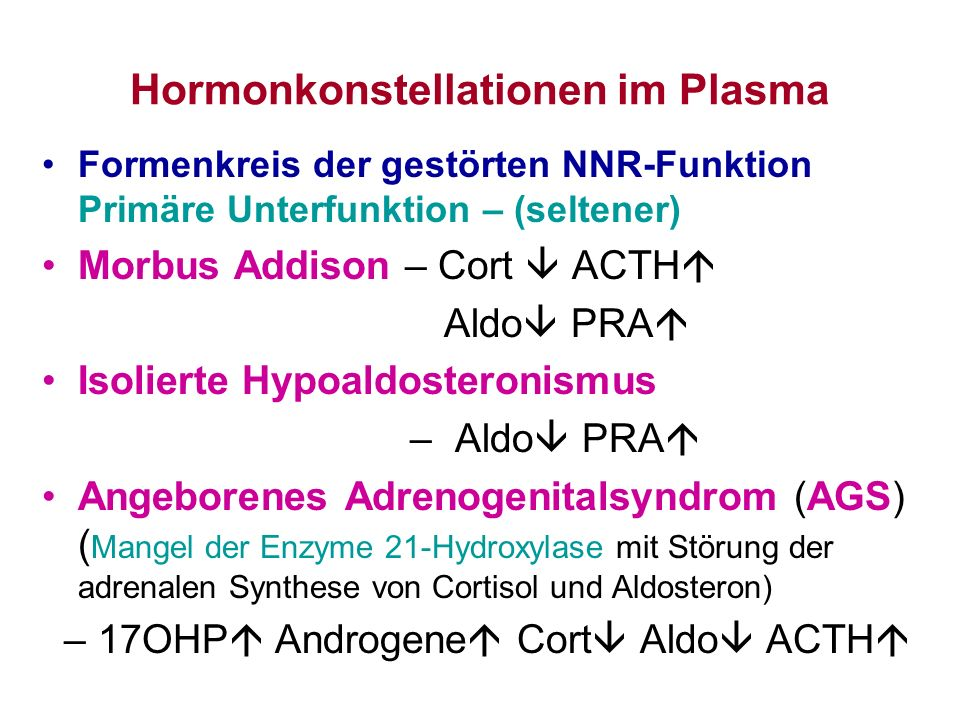 Hormonkonstellationen im Plasma