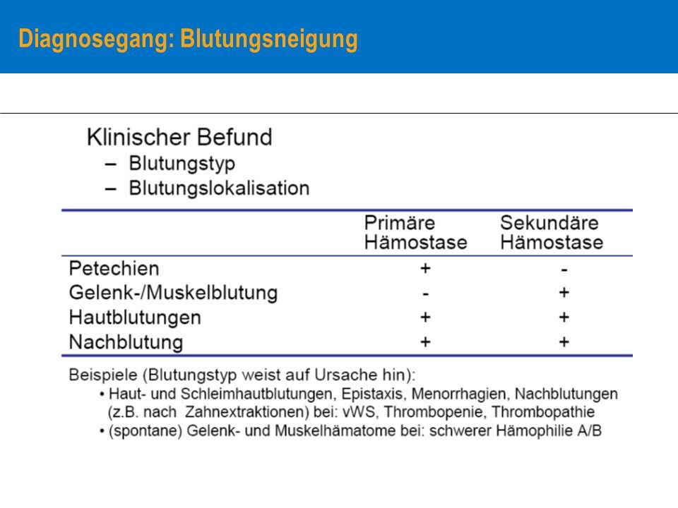 Diagnosegang: Blutungsneigung