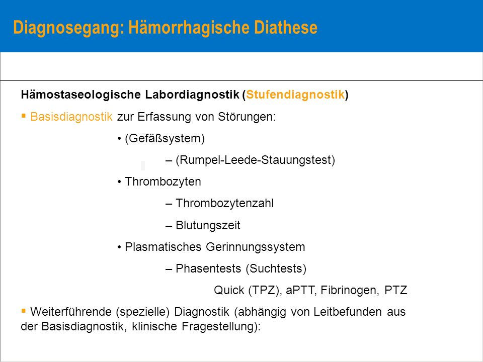 Diagnosegang: Hämorrhagische Diathese