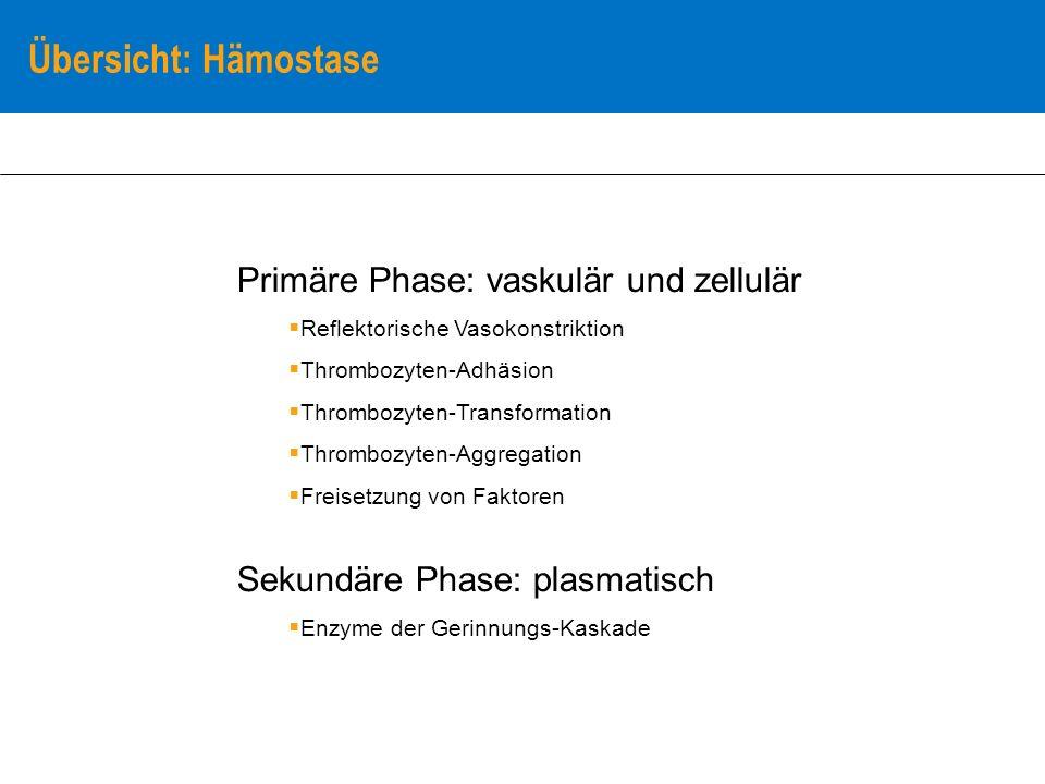 Übersicht: Hämostase Primäre Phase: vaskulär und zellulär