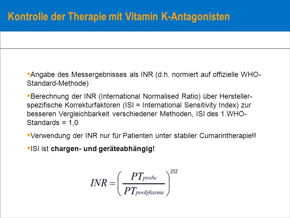 Kontrolle der Therapie mit Vitamin K-Antagonisten